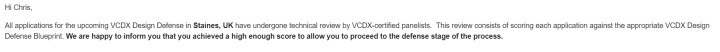 VCDX Proceed to Defense